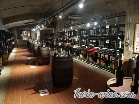 甲州市勝沼ぶどうの丘のワインセラー赤ワイン側