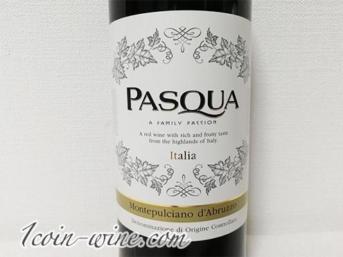 セブンイレブンのワイン パスクア モンテプルチャーノ・ダブルッツォのラベル